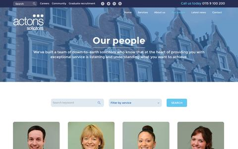 Screenshot of Team Page actons.co.uk - Our People | Actons Solicitors, Nottingham - captured Jan. 22, 2016