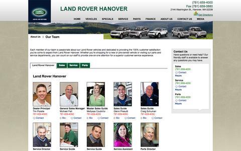 Screenshot of Team Page roverhanover.com - Team Land Rover Hanover - captured Oct. 6, 2014