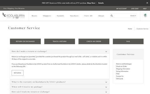 Screenshot of Support Page koolaburra.com - Customer Service   Koolaburra by UGG® - captured June 25, 2017
