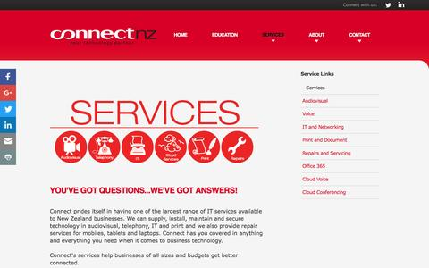Screenshot of Services Page connectnz.co.nz - A Comprehensive Range of IT Services. | Connect NZ - captured July 15, 2016