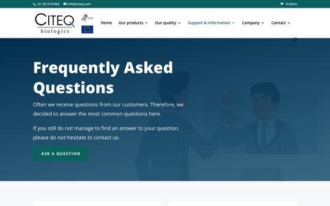 Screenshot of FAQ Page citeqbiologics.com - FAQ - Citeq Biologics - captured Sept. 28, 2018