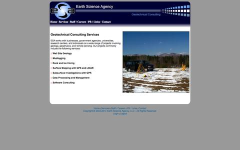 Screenshot of Services Page earthscienceagency.com - ESA - Earth Science Consulting Services - captured Oct. 1, 2014