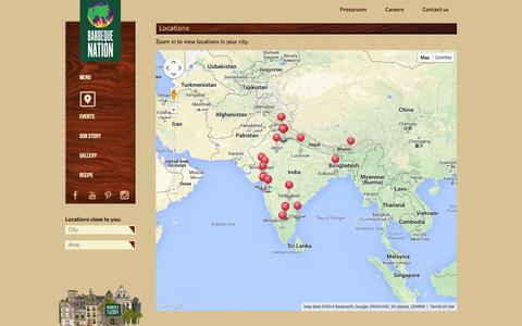 Screenshot of Locations Page barbeque-nation.com - Locations - Barbeque Nation - captured Nov. 4, 2014