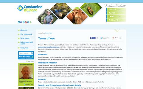 Screenshot of Terms Page condaminealliance.com.au - Condamine Alliance - Terms of use - captured Sept. 30, 2014