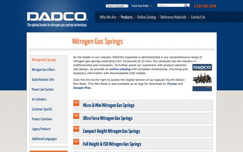 Screenshot of Products Page dadco.net - Nitrogen Gas Springs - DADCO® – English - captured Oct. 14, 2019