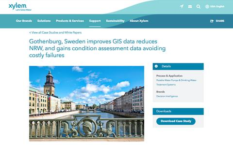 Screenshot of Case Studies Page xylem.com - Gothenburg, Sweden improves GIS data reduces NRW, and gains condition assessment data avoiding costly failures   Xylem US - captured Nov. 9, 2019