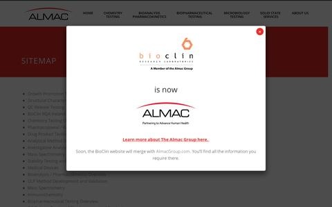 Screenshot of Site Map Page bioclinlabs.com - Sitemap | Bioclin Research Labs - captured Oct. 5, 2018