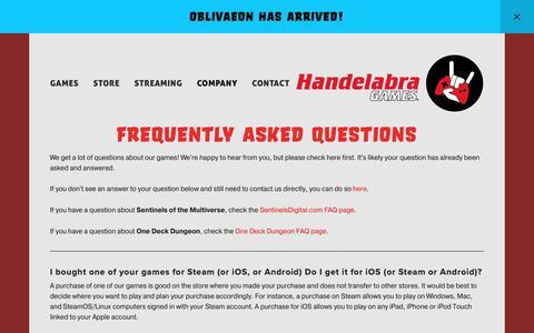 Screenshot of FAQ Page handelabra.com - FAQ — Handelabra Games - captured March 21, 2019