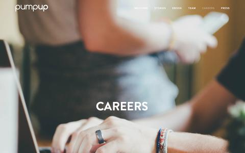 Screenshot of Jobs Page pumpup.com - Careers — PumpUp - captured March 30, 2016