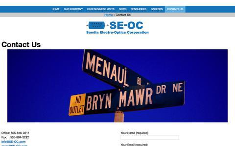 Screenshot of Contact Page se-oc.com - Contact Us - Sandia Electro-Optics Corporation - captured Oct. 4, 2017