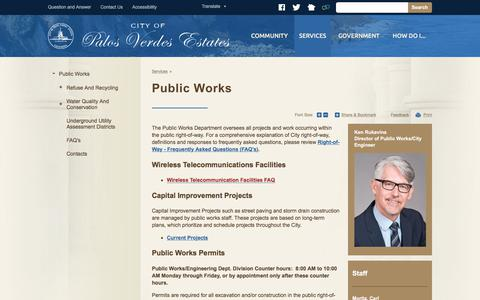 Screenshot of Services Page pvestates.org - Public Works | Palos Verdes Estates, CA - captured July 7, 2018