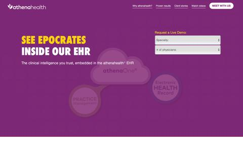 Screenshot of Landing Page athenahealth.com - Let Doctors Be Doctors | athenahealth | OLA - captured June 21, 2016