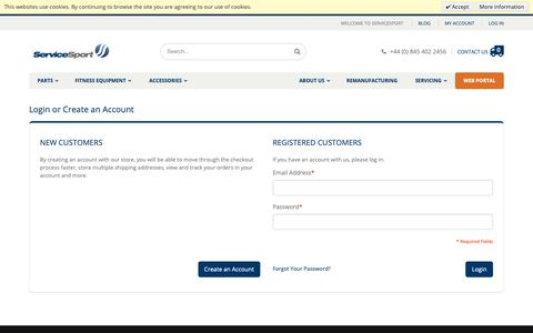 Screenshot of Login Page servicesport.co.uk - Customer Login - captured Oct. 20, 2018