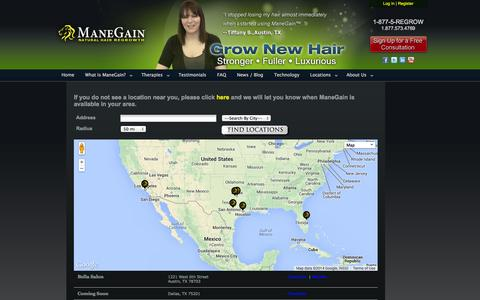 Screenshot of Locations Page manegain.com - Find a Location   ManeGain - captured Sept. 30, 2014
