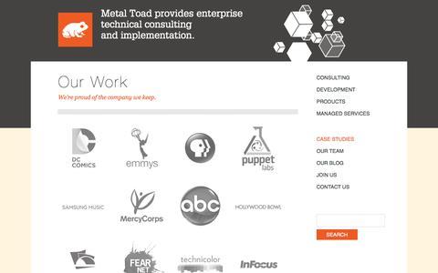 Screenshot of Case Studies Page metaltoad.com - Our Work | Metal Toad - captured Oct. 27, 2014
