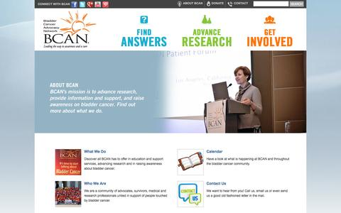 Screenshot of About Page bcan.org - About Us » Bladder Cancer Advocacy Network - BCAN - captured Oct. 5, 2014
