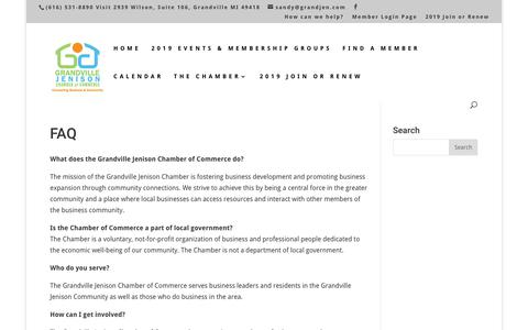 Screenshot of FAQ Page grandjen.com - FAQ | Grandville/Jenison Chamber of Commerce - captured Dec. 16, 2018