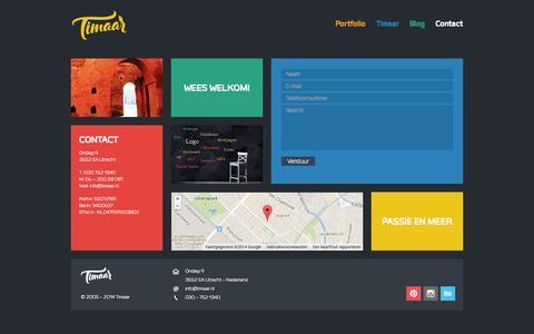 Screenshot of Contact Page timaar.nl - Contact «  Timaar - captured Sept. 30, 2014