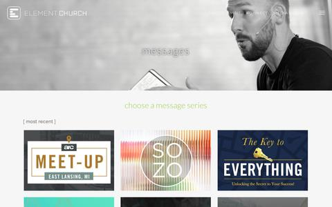 Screenshot of Press Page theelement.church - Messages | Element Church - captured Dec. 6, 2018
