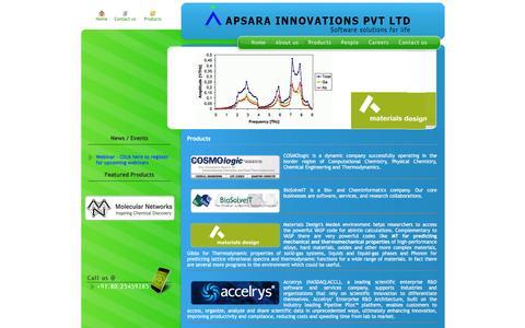 Screenshot of Products Page apsarain.com - :: Apsara Innovations :: - captured Feb. 6, 2016