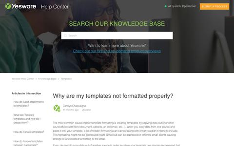 Screenshot of Support Page yesware.com - Why are my templates not formatted properly? – Yesware Help Center - captured July 12, 2019