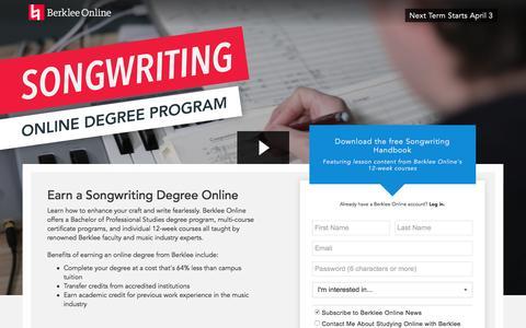 Screenshot of Landing Page berklee.edu - Earn a Degree Online with Berklee - captured Feb. 23, 2017