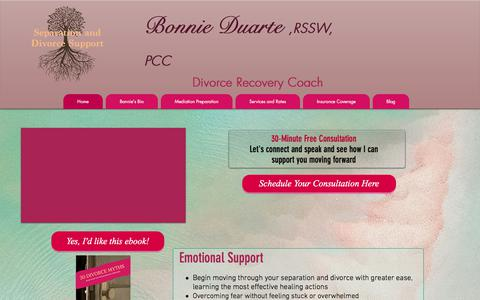 Screenshot of Home Page duartecoaching.com - Divorce Suppor | Bonnie Duarte, PCC | Separation and Divorce | Toronto - captured Aug. 8, 2018