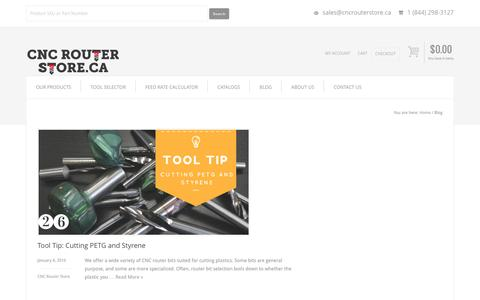 Screenshot of Blog cncrouterstore.ca - CNC Router Store Blog - captured July 9, 2016