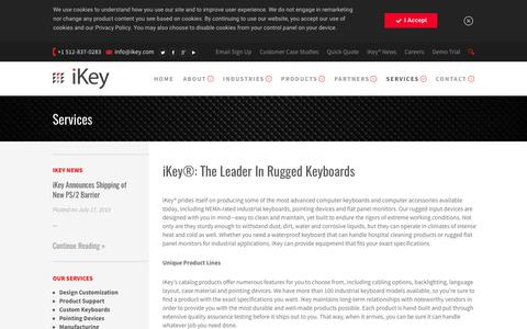 Screenshot of Services Page ikey.com - iKey Rugged Keyboard and Accessory Services - captured Aug. 6, 2019