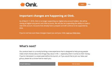 Screenshot of Home Page oink.com - Oink | The Prepaid Card for Teens - captured March 12, 2016