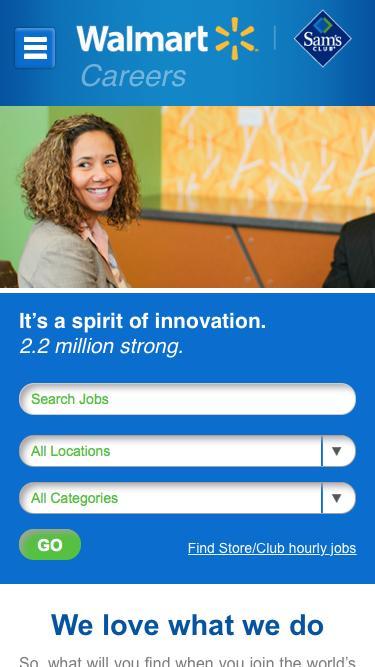 Screenshot of Jobs Page  walmart.com - Welcome to Walmart Careers