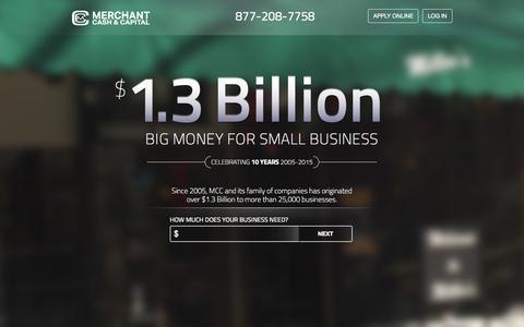 Screenshot of Home Page merchantcashandcapital.com - Merchant Cash & Capital | Alternative Business Finance Leader - captured Sept. 11, 2015