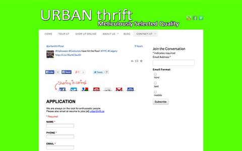 Screenshot of Jobs Page urbanthrift.ca - Interested in working at Urban Thrift? - captured Oct. 9, 2014