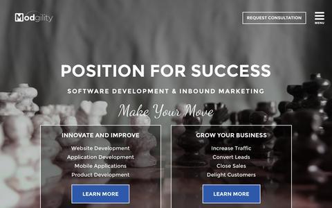 Screenshot of Home Page modgility.com - Modgility | Cleveland Software Development & Marketing - captured Feb. 22, 2016