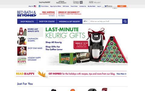 Screenshot of Home Page bedbathandbeyond.com - Bedding, Bath Towels, Cookware, Fine China, Bridal & Gift Registry  - BedBathandBeyond.com - captured Dec. 17, 2015