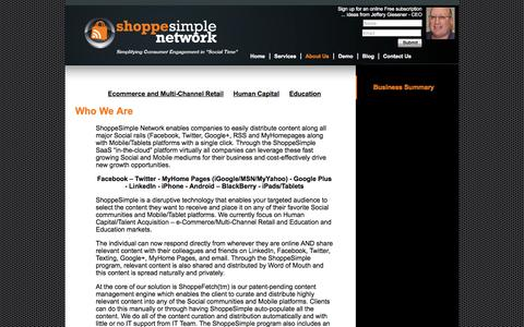 Screenshot of About Page shoppesimplenetwork.com - Business Summary | ShoppeSimple Network - e-Commerce, Human Capital/HR, Education - captured Oct. 26, 2014