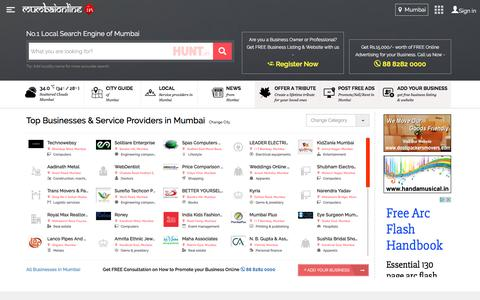 Screenshot of Home Page mumbaionline.in - MumbaiOnline.in - Local Businesses in Mumbai (Maharashtra) | Mumbai Guide & News - captured May 15, 2016