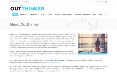 Screenshot of About Page outthinker.com - About Outthinker: Growth Strategy Consulting - captured Sept. 20, 2018