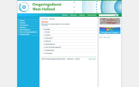 Screenshot of Site Map Page odwh.nl - Omgevingsdienst West-Holland - Sitemap - captured Oct. 26, 2014