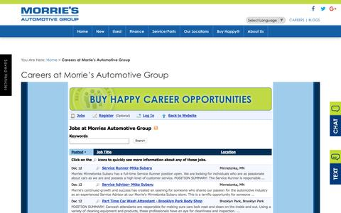 Screenshot of Jobs Page morries.com - Dealership Automotive Jobs | Morrie's Automotive Group - captured Dec. 14, 2016