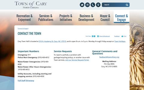 Screenshot of Contact Page townofcary.org - Contact the Town | Town of Cary - captured Oct. 30, 2017