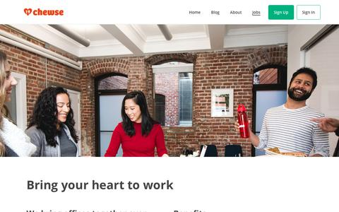Screenshot of Jobs Page chewse.com - Jobs | Chewse - captured Feb. 14, 2018