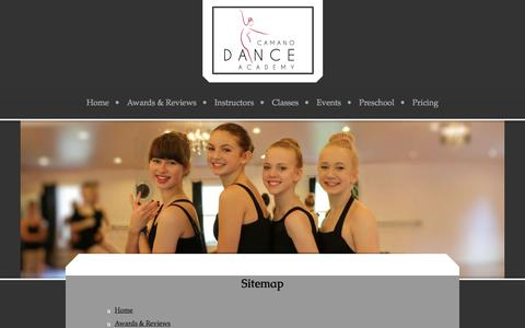 Screenshot of Site Map Page camanodance.com - Learn about our school - captured Jan. 24, 2016