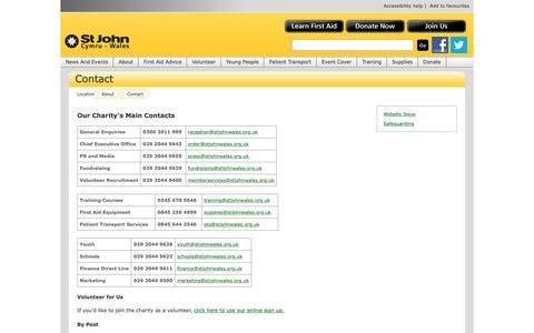 Screenshot of Contact Page stjohnwales.org.uk - Contact  » St John Cymru Wales - captured Oct. 18, 2018