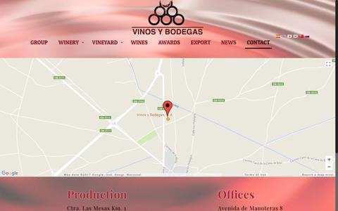 Screenshot of Contact Page vinosybodegas.com - Contact – Wines and Wineries - captured Nov. 15, 2017