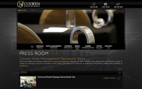 Screenshot of Press Page colwenhotels.com - Hotel Management Reviews  - Colwen Hotel Management – Portsmouth, NH - captured Sept. 30, 2014