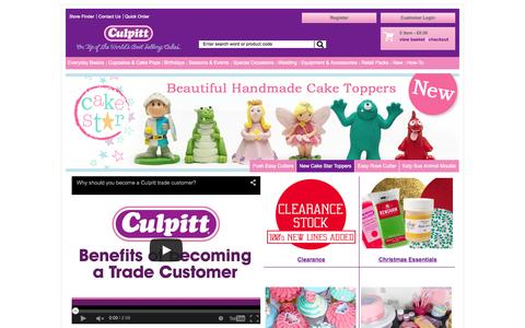 Screenshot of Home Page culpitt.com - Cake Decorating and SugarCrafting Accessories | Cake Decorating Supplier | Trade Sugarcraft and Decoration Supplier - captured Oct. 25, 2015