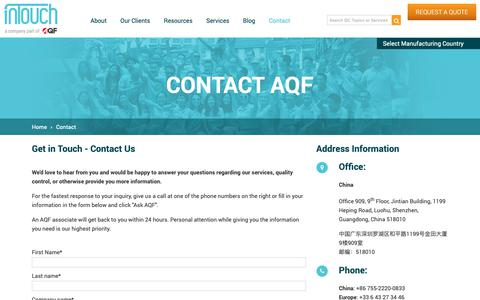 Screenshot of Contact Page intouch-quality.com - Contact us | Asia Quality Focus - captured Feb. 28, 2019