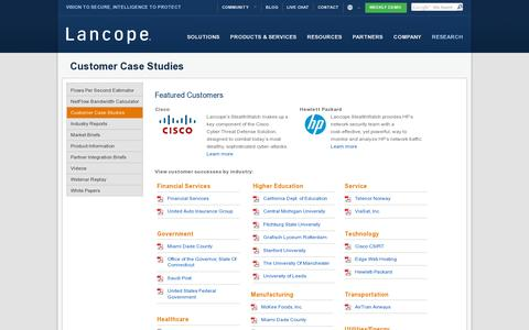 Screenshot of Case Studies Page lancope.com - Customer Successes | StealthWatch by Lancope - captured July 18, 2014