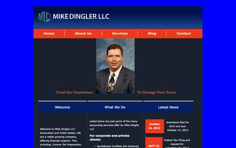 Screenshot of Home Page mikedingler.com - Mike Dingler LLC - Accountant and Notary Public Services - Phoenix, AZ - captured Oct. 9, 2014